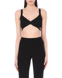 Moschino Cheap & Chic Strap-Detail Knitted Cropped Top - Lyst