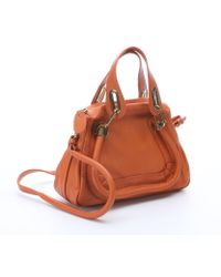Chloé Orange Leather Paraty Small Convertible Top Handle Bag - Lyst