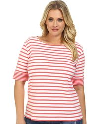 Pendleton Plus Size Double Stripe Rib Tee pink - Lyst