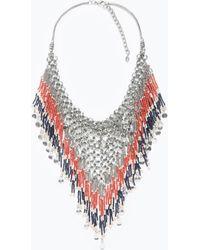 Zara Metal Mesh Necklace - Lyst