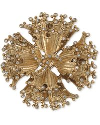 Carolee - Goldtone Crystal Stone Abstract Flower Pin - Lyst