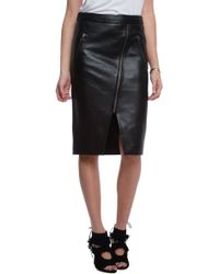 Michelle Mason Zippered Leather Skirt - Lyst