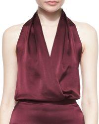 Tamara Mellon | Halter Faux-Wrap Blouson Bodysuit | Lyst
