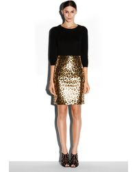 Milly Leather Pencil Skirt - Lyst