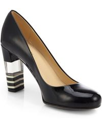 Kate Spade Leslie Patent Leather Lucite-heel Pumpsblack - Lyst
