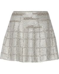 Maiyet Checked Metallic Knitted Mini Skirt - Lyst