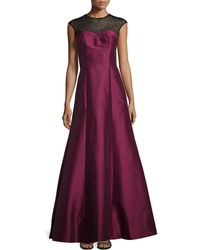 ML Monique Lhuillier Beaded Cap-Sleeve Gown - Lyst
