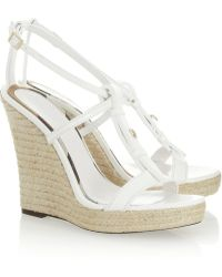 Burberry Leather Wedge Espadrilles - Lyst
