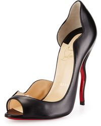 Christian Louboutin Dictata Half-D'Orsay Squiggle-Heel Red Sole Pump - Lyst
