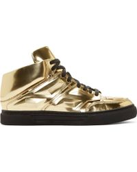 Alejandro Ingelmo Gold Leather Exotron High_Top Sneakers gold - Lyst
