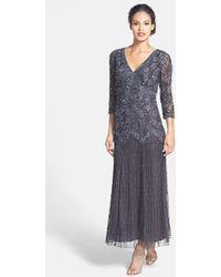 Pisarro Nights Beaded Mesh Drop Waist Dress - Lyst