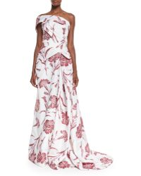 Carolina Herrera | One Shoulder Carnation Fil Coupe Gown | Lyst