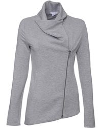 Helmut Lang Wide Collar Zip Front Sweater - Lyst