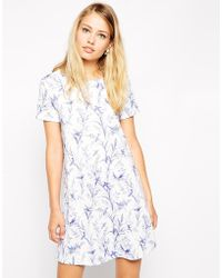 Asos Swing Dress in Textured Bird Print - Lyst