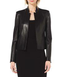 Michael Kors Stand-Collar Leather Jacket - Lyst