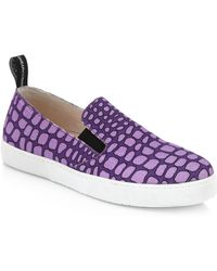 Moschino Cheap & Chic Betty Croc-Print Canvas Slip-On Sneakers - Lyst