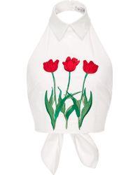 Vivetta   Iolanda Cotton Floral Embroidered Halter Top   Lyst