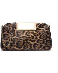 Michael Kors Berkley Leopard-Print Hair Calf Clutch - Lyst
