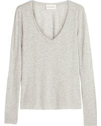 American Vintage Heather Grey V Neck Long Sleeve Tshirt - Lyst