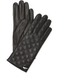 Diane von Furstenberg - Caning Quilted Leather Gloves - Black - Lyst