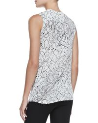 BCBGMAXAZRIA Rumor Printed Draped Sleeveless Top - Lyst