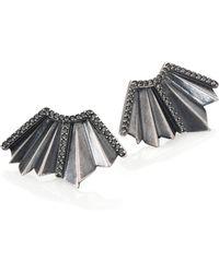 Giles & Brother | Ray Fan Pavé Crystal Earrings/silvertone | Lyst