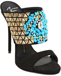 Giuseppe Zanotti 120Mm Studs & Turquoise Suede Sandals - Lyst