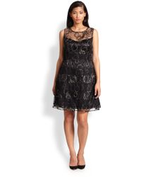 Kay Unger Embroidered Lace Dress black - Lyst