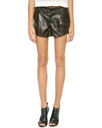 Alice + Olivia  Leather Butterfly Shorts  - Lyst