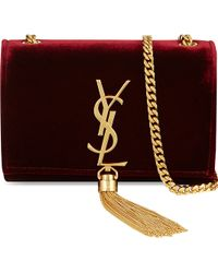 Saint Laurent Small Velvet Monogram Shoulder Bag - Lyst