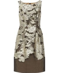 Lela Rose Floral Metallic Fil Coupé Dress - Lyst
