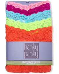 Hanky Panky Signature Lace Original Rise Thong 5pack Set - Lyst