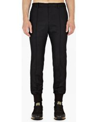 Wooyoungmi | Black Cuffed Wool Trousers | Lyst