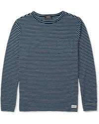 A.P.C. Striped Cotton-blend T-shirt - Lyst