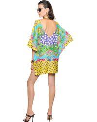Versace Printed Cotton Silk Voile Dress - Lyst