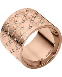 Michael Kors Rose Gold-Tone And Glitz Barrel Ring - Lyst