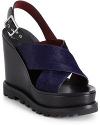 Marc By Marc Jacobs Street Stomp Irving Calf Hair & Leather Wedge Sandals blue - Lyst