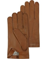 FORZIERI - Mens Cashmere Lined Brown Italian Leather Gloves - Lyst