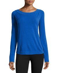 Donna Karan New York Long-sleeve Wide-neck Top - Lyst