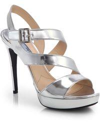 Prada Strappy Metallic Leather Sandals - Lyst