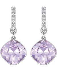 Swarovski Artisan Silvertone Lilac Crystal Drop Earrings - Lyst
