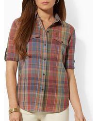 Ralph Lauren Lauren Plaid Roll Sleeve Shirt - Lyst