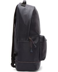 Kris Van Assche - Navy Pebbled Leather Tassel Trim Backpack - Lyst