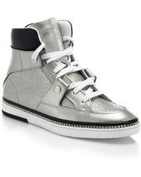 Jimmy Choo Barlowe Studded Leather High-Top Sneakers - Lyst