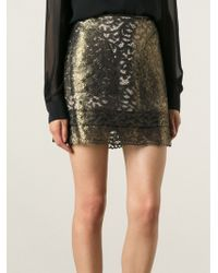 See By Chloé Metallic Lace Skirt - Lyst