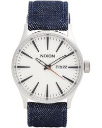 "Nixon The Sentry Leather"" Watch - Lyst"
