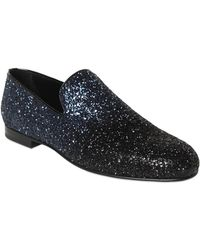 Jimmy Choo Gradient Glittered Leather Loafers - Lyst
