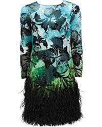 Matthew Williamson Hibiscus Silk Chiffon Feather Trimmed Dress - Lyst