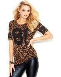 Guess Short-Sleeve Leopard-Print Top - Lyst