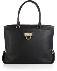 Ferragamo | Dotty Pebbled-leather Tote | Lyst